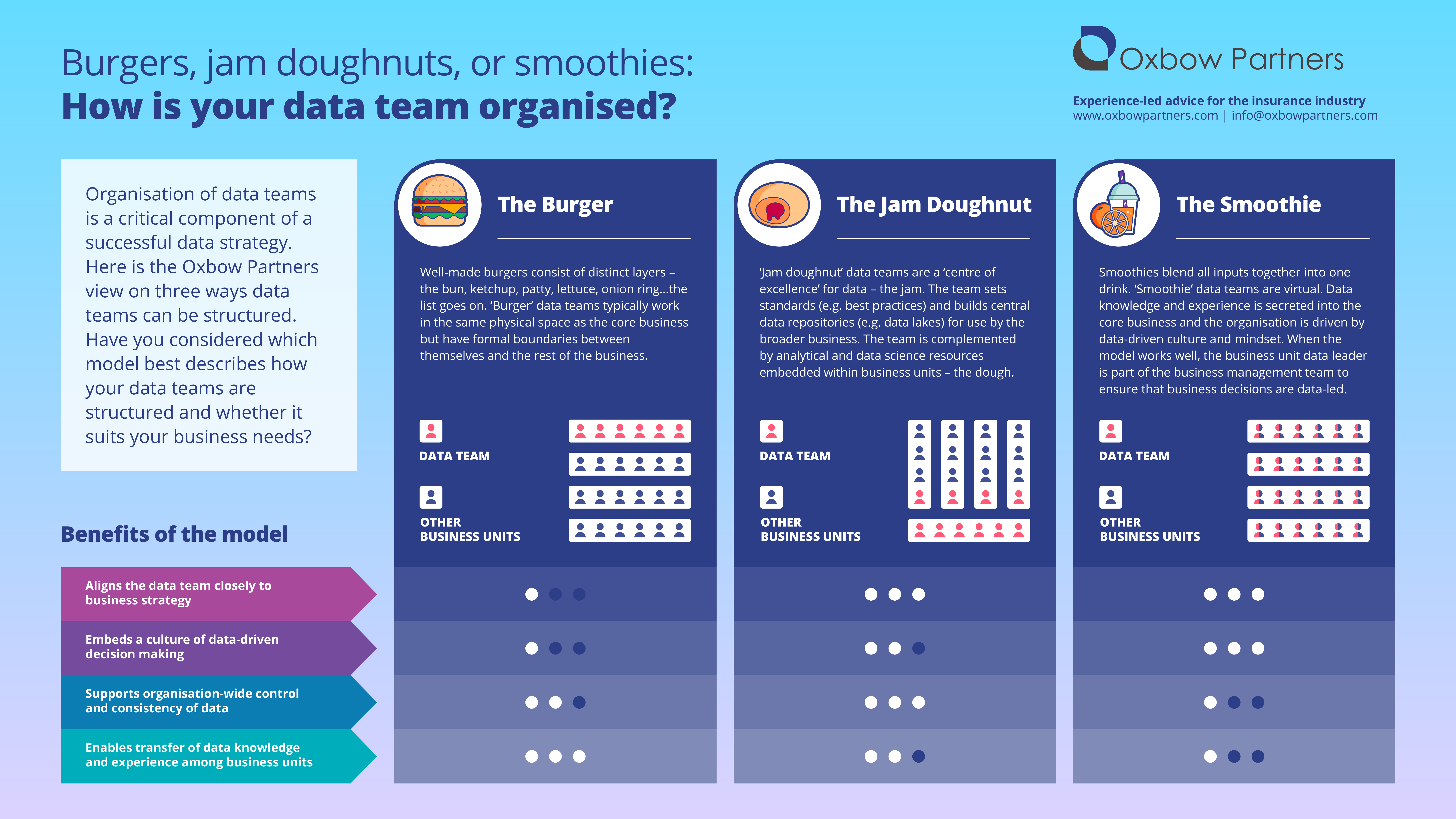 Structuring Data Teams: infographic summarising the three ways in which data teams can be organised. We have described these as the Burger, the Jam Doughnut, and the Smoothie. There is no correlation between the healthiness of the food and the desirability of the model for insurance companies.